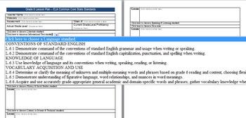 Common Core Lesson Plan ELA Grade 6 w/Standards in Drop Down Menus
