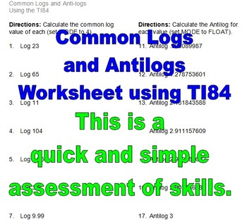 Common Logs (Logarithms) and Antilogs Worksheet by Mike\'s Math Market