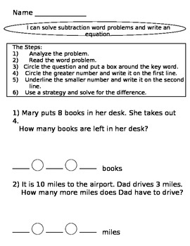 Common Math Assesment for Subtraction Word Problems