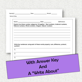 Math Terms and Definitions Activity
