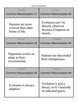 Common Misconception Cards - 6 Evolutionary Myths