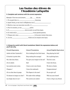 French Common Mistakes Song and Writing Activities