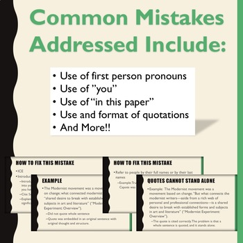 Common Mistakes in Academic Writing PowerPoint and Revision Stations