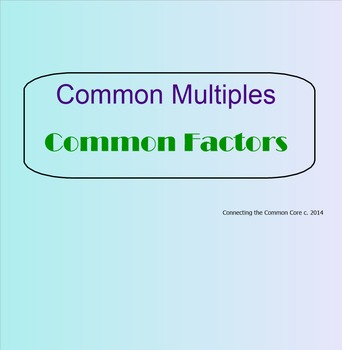 Multiples and  Factors - Smartboard Visuals Lesson