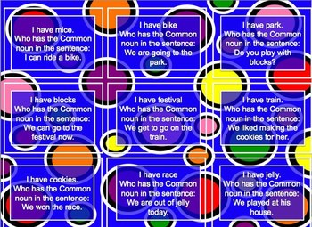 Common Noun Grammar I have, Who has, Flashcards