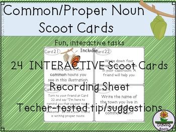 Common Noun Proper Noun Task Cards Scoot Game