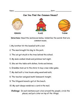 Common Noun Worksheet