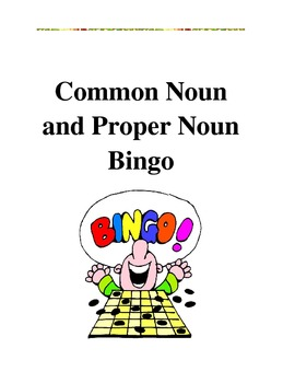Common Noun and Proper Noun Bingo