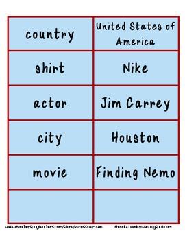 Common Noun and Proper Noun word sort