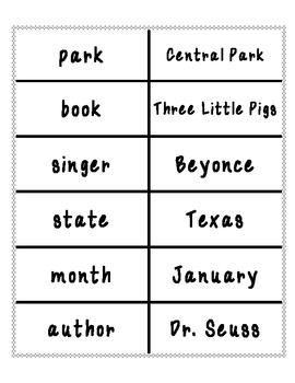 Common Noun and Proper Noun word sort- black and white