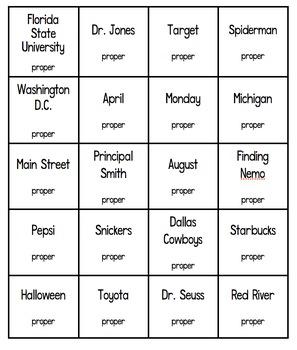 Common Noun or Proper Noun Game