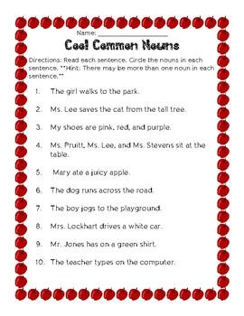 Common Nouns Assessment