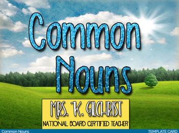 Common Nouns Boom Learning Deck Task Cards