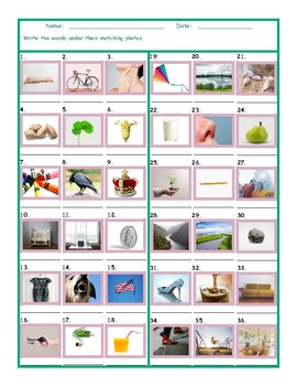 Common Nouns First Grade Worksheet