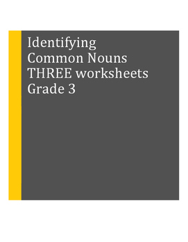 Common Nouns: Identifying in a Sentence: THREE Worksheets