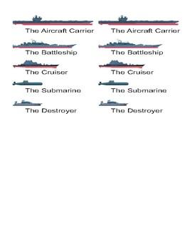 Common Nouns Pre-Kindergarten Battleship Game