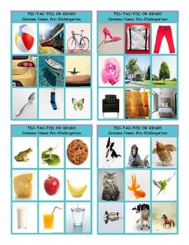 Common Nouns Pre-Kindergarten Tic-Tac-Toe-Bingo Game