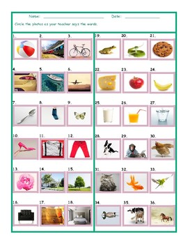 Common Nouns Pre-Kindergarten Worksheet