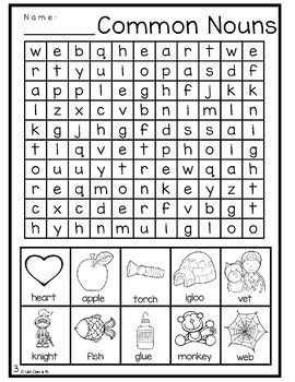 Common Nouns Puzzles Word Search