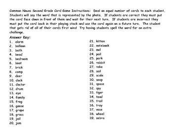 Common Nouns Second Grade Card Game