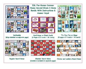 Common Nouns Second Grade Six Game Bundle