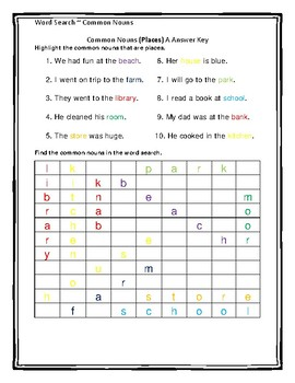 Common Nouns Word Search Part 1