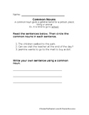 Common Nouns Worksheet