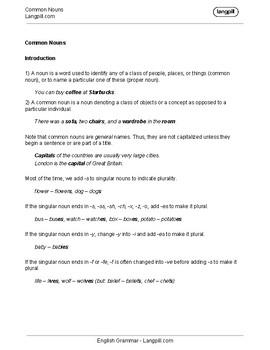 Common Nouns Worksheet