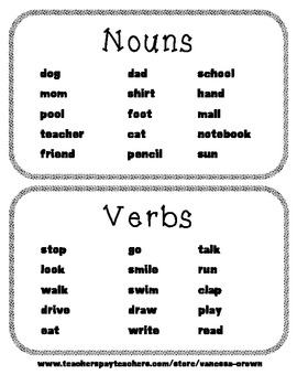 Common Nouns and Action Verbs word sort black and white