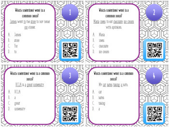 Common Nouns and Proper Nouns QR Task Cards
