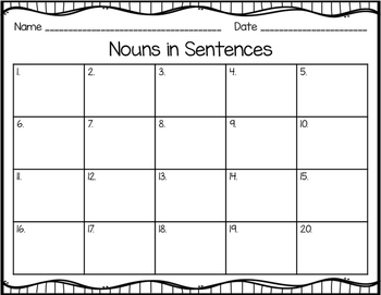 Common Nouns in Sentences Task Cards