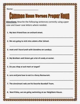 Common Nouns verses Proper Nouns. 3 pages of 10 questions each.