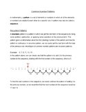 Common Number Patterns Review Sheet