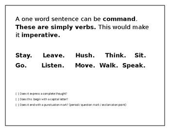 Common One Word Sentences