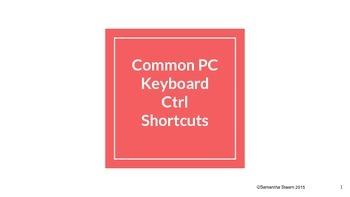 Common PC Keyboard Ctrl Shortcuts