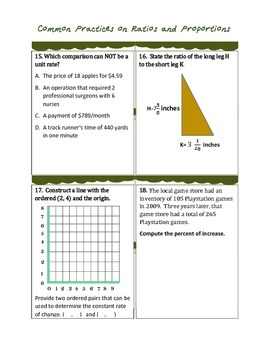 Common Practices on Ratios and Proportions