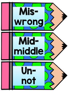Common Prefix and Suffix Definition Mini Signs