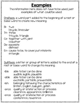 Common Prefixes and Suffixes Flipbooks