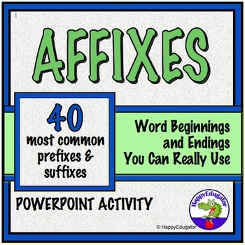 Prefixes and Suffixes PowerPoint and Vocabulary Activity
