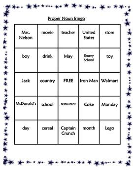 Common Proper Noun Bingo