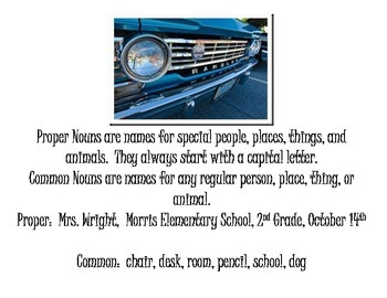 "Common Proper Noun Center Sort Cars Theme ""Park the Cars"""