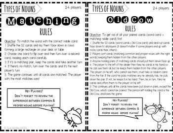 Common & Proper Nouns Game Set