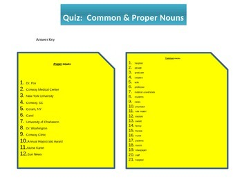 Grammar:  Common & Proper Nouns Quiz