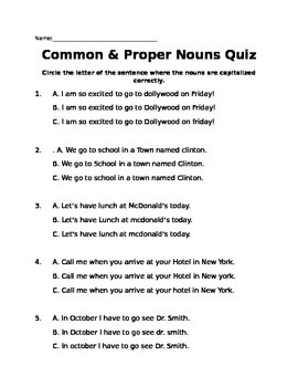 Common & Proper Nouns Quiz