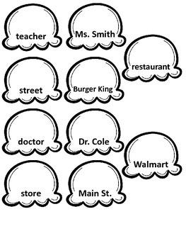 Common & Proper Nouns Sort cut and paste activity - ice cream theme