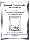 Common & Proper Nouns Sort cut and paste activity - ice cr