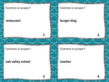 Common & Proper Nouns Task Cards, Scoot & Board Game