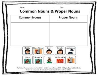 Common & Proper Nouns cut and paste activity