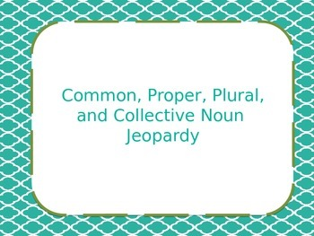 Common, Proper, Plural, and Collective Noun Jeopardy