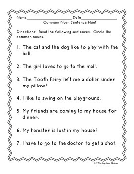 Common, Proper and Possessive Nouns  Games, Worksheets and Assessments